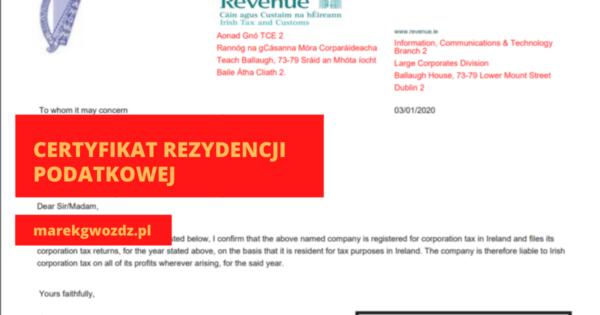 Certyfikat rezydencji podatkowej 2019-2020-2021